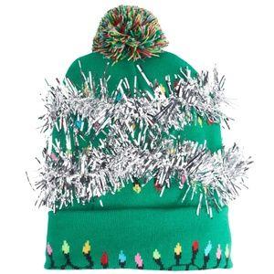 Christmas Pom-Pom Beanie. It lights up!!